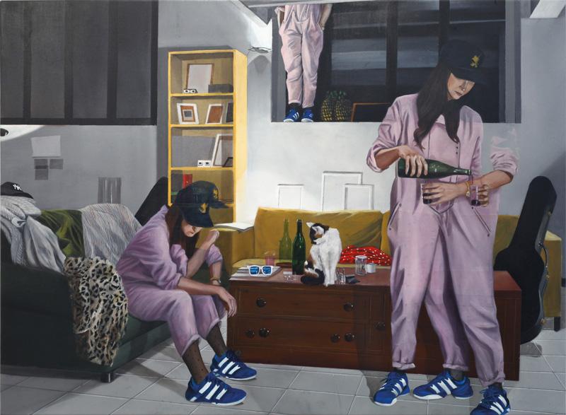Dario Maglionico, Reificazione #48, 2018, oil on canvas, 70×95 cm