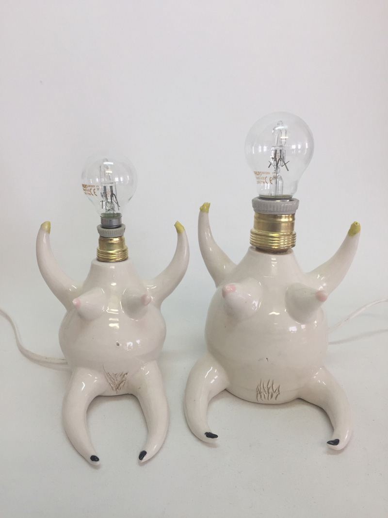 Lusesita, Lamps of Lus, 2018, ceramic and enamel, different sizes