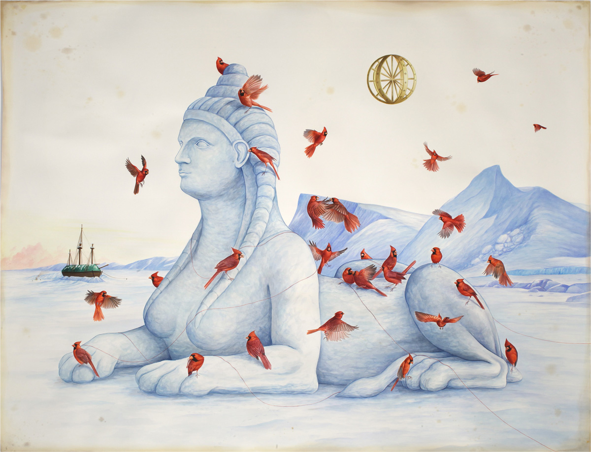 El Gato Chimney, Riddles in the snow, 2018, watercolors and mixed media on paper, 200x153 cm