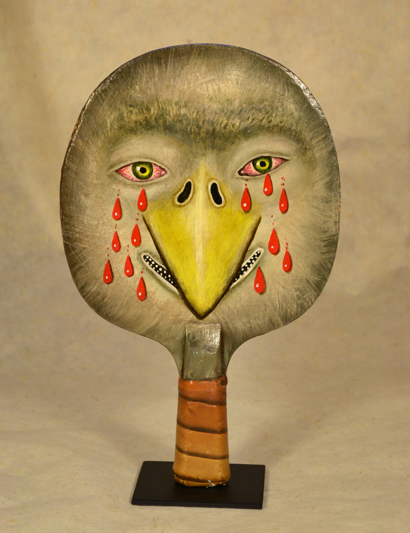 Fred Stonehouse, Bird paddle, 2018, acrylic on vintage ping-pong paddle, 26×16,5 cm