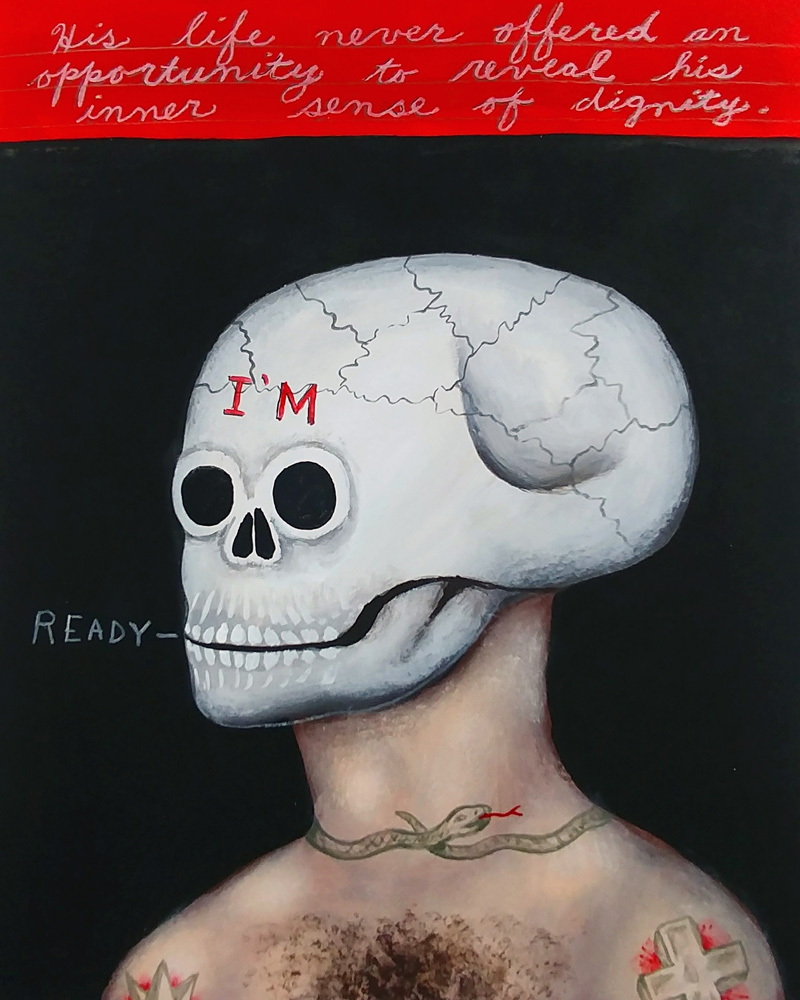 Fred Stonehouse, I'm ready, 2018, flashe on paper, 25,5×20,3 cm