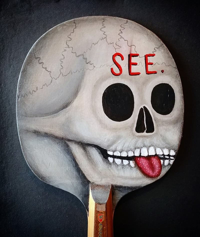 Fred Stonehouse, See skull paddle 2, 2018, acrylic on vintage ping-pong paddle, 26×16,5 cm