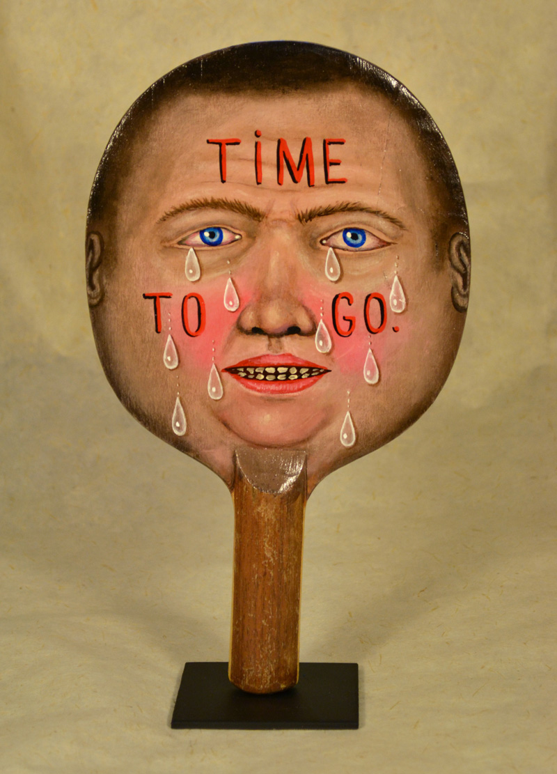 Fred Stonehouse, Time to go, 2018, acrylic on vintage ping-pong paddle, 26×16,5 cm