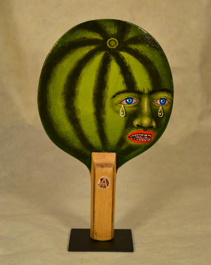 Fred Stonehouse, Watermelon paddle, 2018, acrylic on vintage ping-pong paddle, 26×16,5 cm