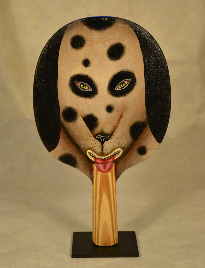 Fred Stonehouse. Dog paddle, 2018, acrylic on vintage ping-pong paddle, 26×16,5 cm