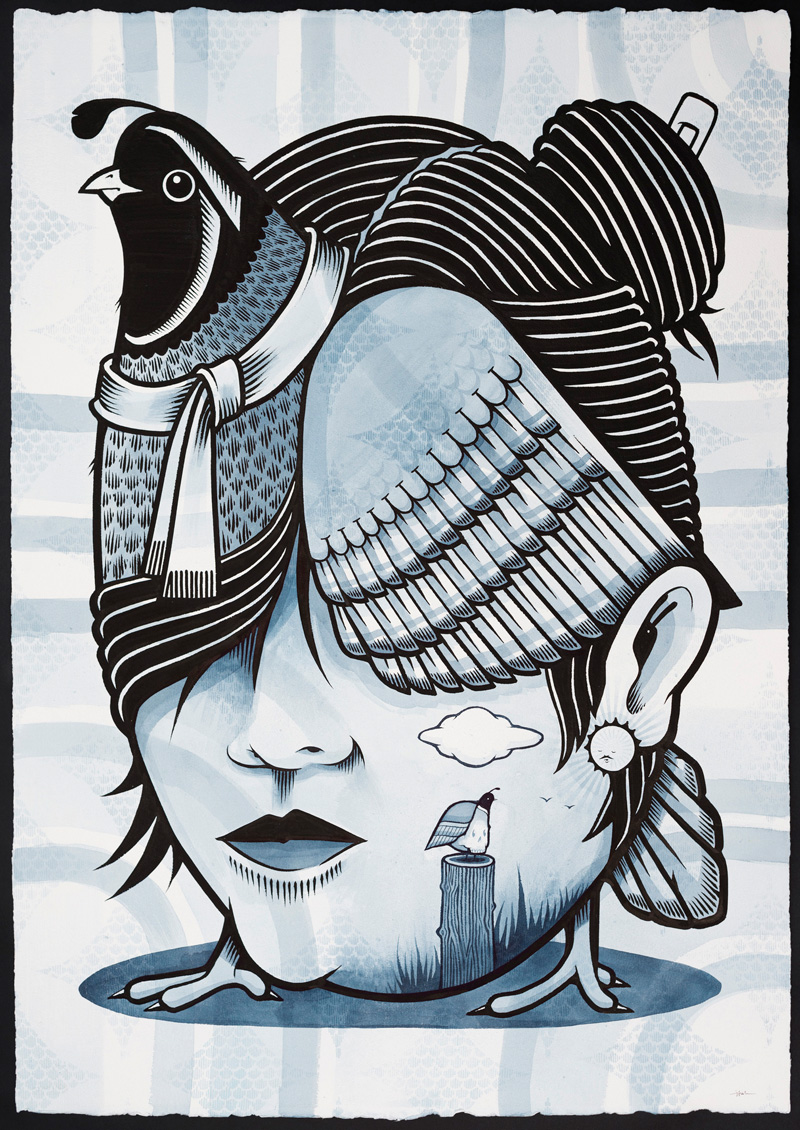 Jeremy-Fish,-Quail-Queen,-2018,-ink-on-paper,-104×75-cm