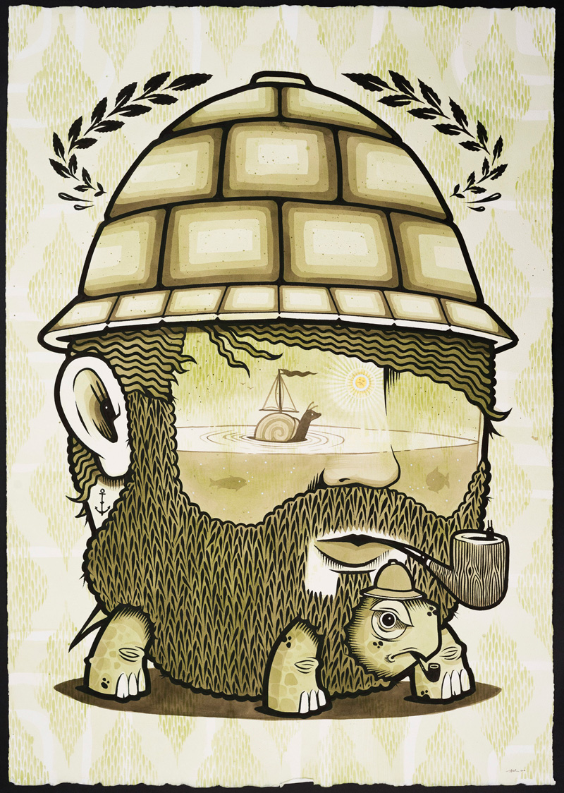 Jeremy-Fish,-Snailboat-Seaman,-2018,-ink-on-paper,-104×75-cm