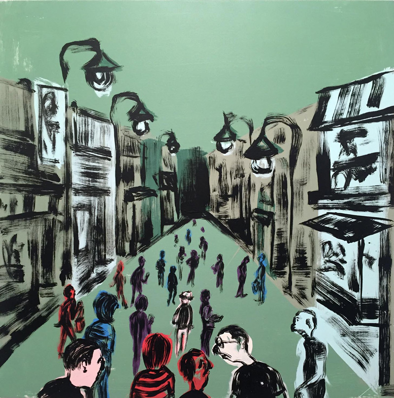 Russ Pope, Summer in the city, 2018, acrylic on canvas, 85×83 cm