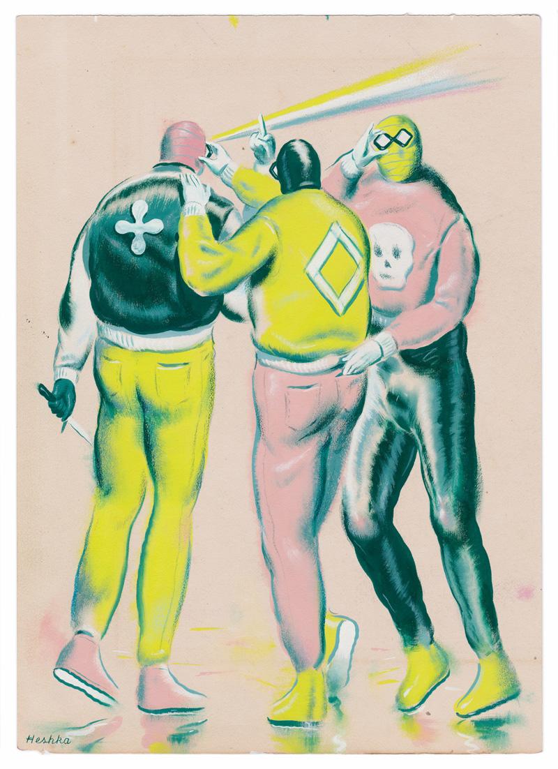 Ryan Hehska, Video Gangsters, 2019, gouache and mixed media on paper, 26×19 cm