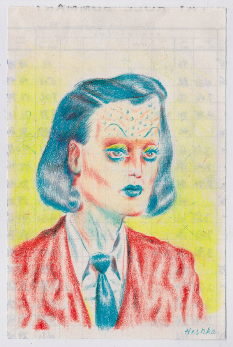 Ryan Heshka, Doctor Marva, 2018, pencil crayon on paper, 18×12 cm