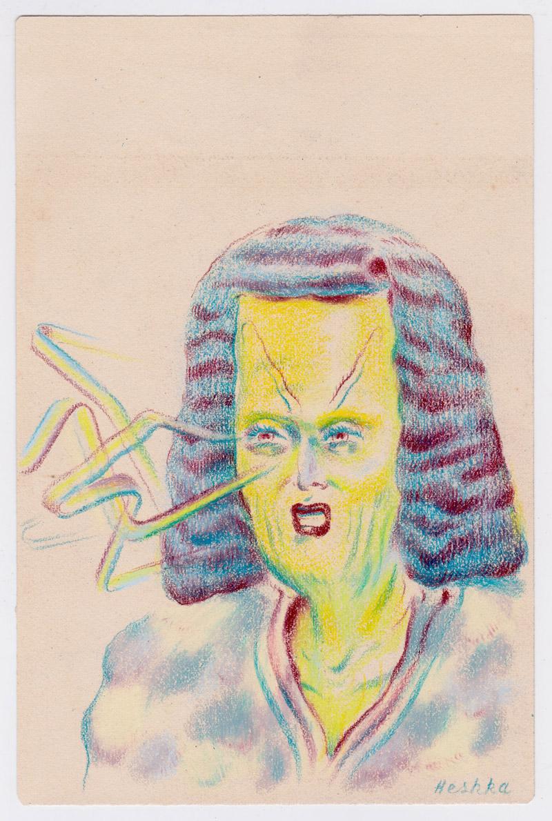 Ryan Heshka, Ribbon Vision Assassin, 2018, pencil crayon on paper, 18×12 cm