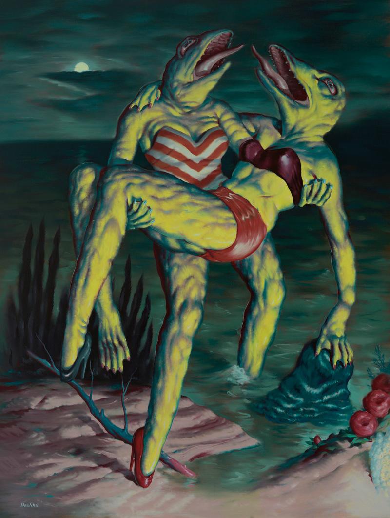 Ryan Heshka, Super Deluxe Rescue, 2018, oil on canvas, 150×115 cm