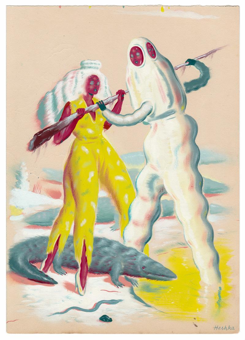 Ryan Heshka, Swamp of the self, 2018, gouache and mixed media on paper, 26×19 cm