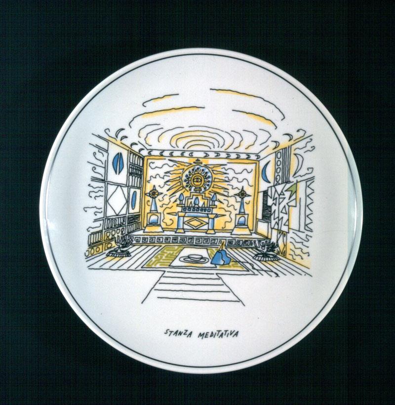 1-Alessandro-Mendini,-Stanze,1994,-serie-di-sei-piatti-in-ceramica.-Edizione-limitata,-Autoproduzione
