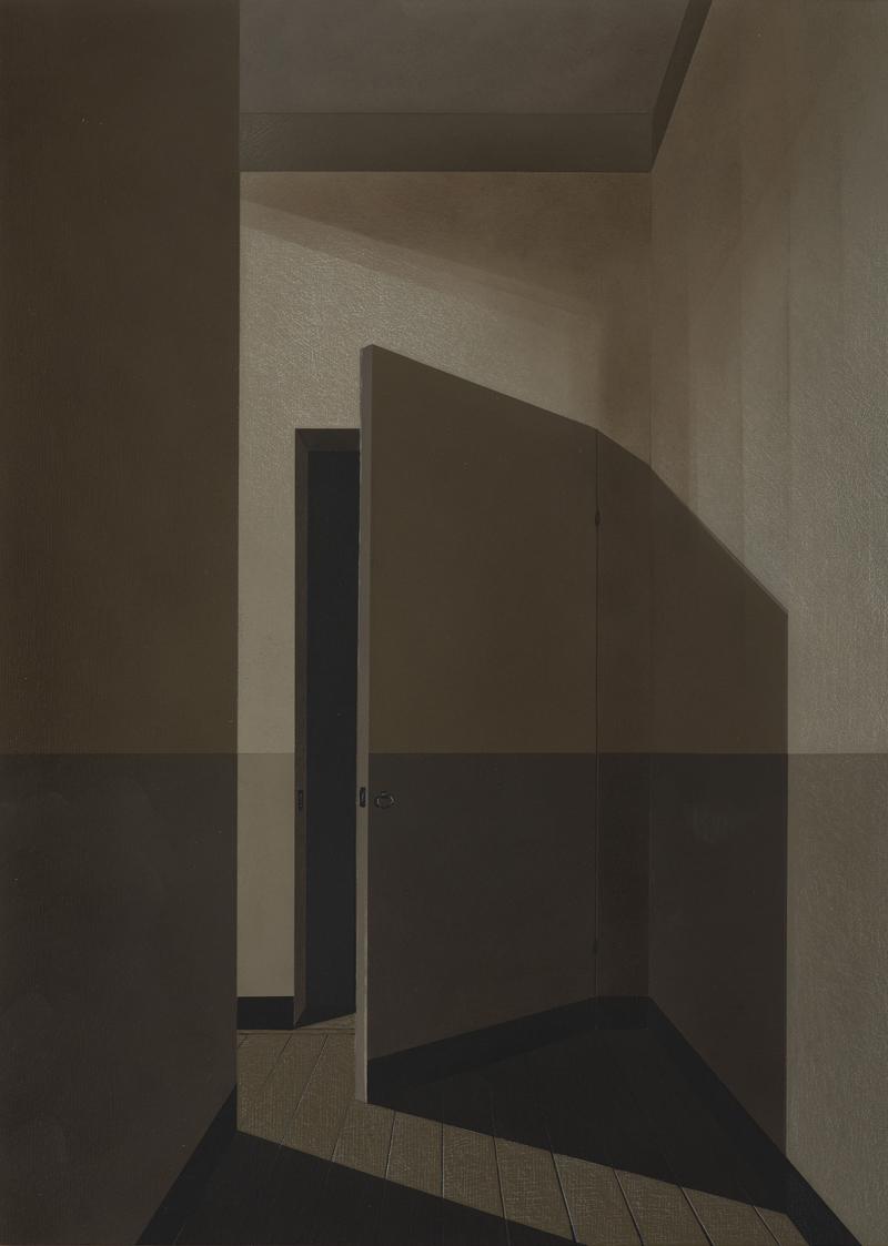 Arduino Cantafora, Atto Unico III, 2016, vinilico e olio su tavola, 50×35 cm,