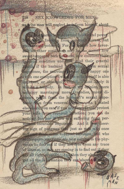 Gary Baseman, Sacrificing of the cake 2, 2009, pencil on paper, 24,5x17,5 cm