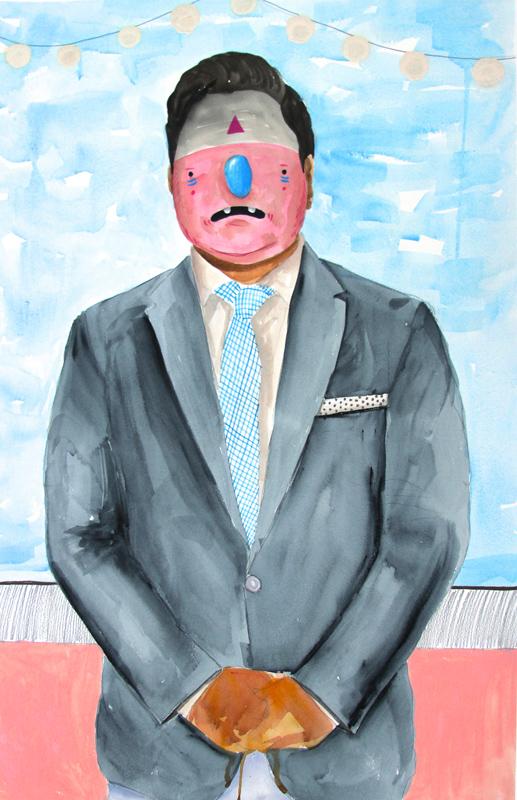 Carlos Donjuan, El Profe, 2013, Mixed Media On Paper, 76x51 Cm