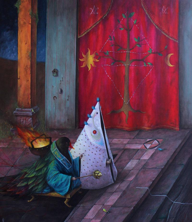 El Gato Chimney, Bagni Notturni, 2013, Acrylic On Canvas, 70x60 Cm