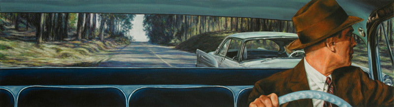 Eric White, 1956 De Soto Firedome Sportsman (Vertigo), 2011, Olio Su Tela, Cm 25 X 91,5