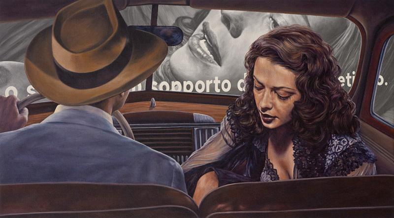 Eric White, Davanti, 2014, oil on canvas, 51x91 cm