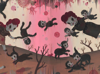 Gary Baseman, Bloody Smiles In Heaven, 2012, Acrylic On Canvas, 91 X 244 Cm