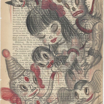 Gary Baseman, Fasciaed Of The Thigh Page 443, 2012, Pastelli Su Carta