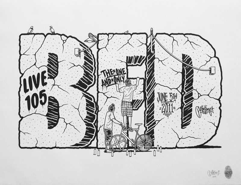Mike Giant, Bed Live 105, 2011, ink on paper, 61x46 cm
