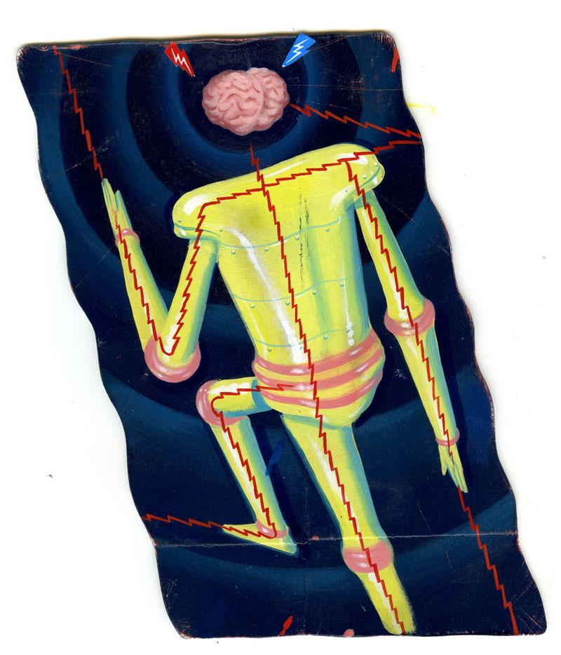 Ryan Heshka, Not My Body, 2013, mixed media on paper, 19x12 cm
