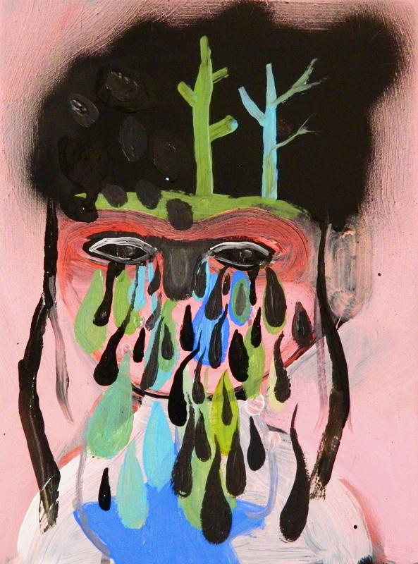 Silvia Argiolas, Lacrime verdi, 2014, acrylic and enamel on canvas, 24x18 cm