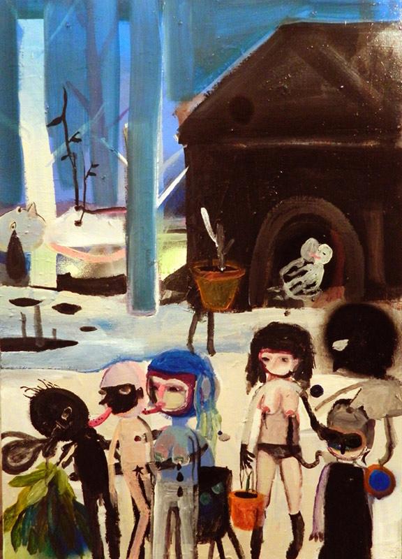 Silvia Argiolas, Solitudini Differenti, 2014, mixed media on canvas, 50x70 cm