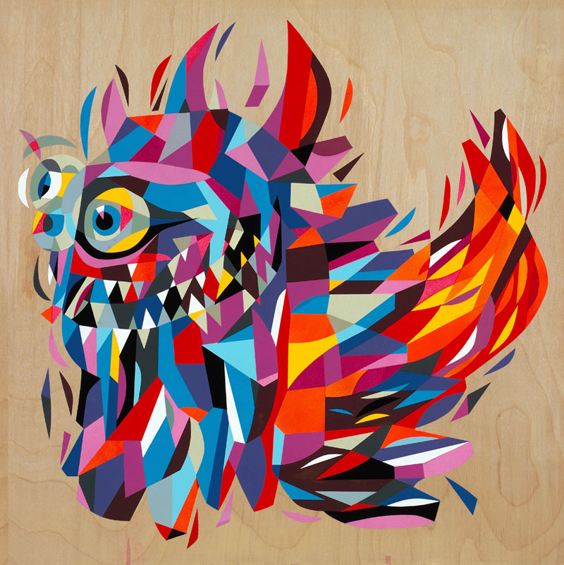 Tim Biskup, Rangeas #2, acrylic on plywood, 61 x 61cm