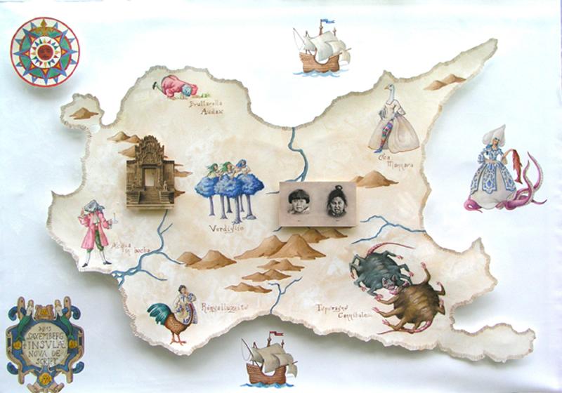 Vanni Cuoghi, Mappa Di Saxemberg, 2013,acquerello, Collage Su Carta,cm70x100
