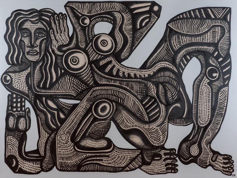 Zio Ziegler, Her Mystery, 2014, Mixed Media On Canvas, 182,9 X 243,8 Cm
