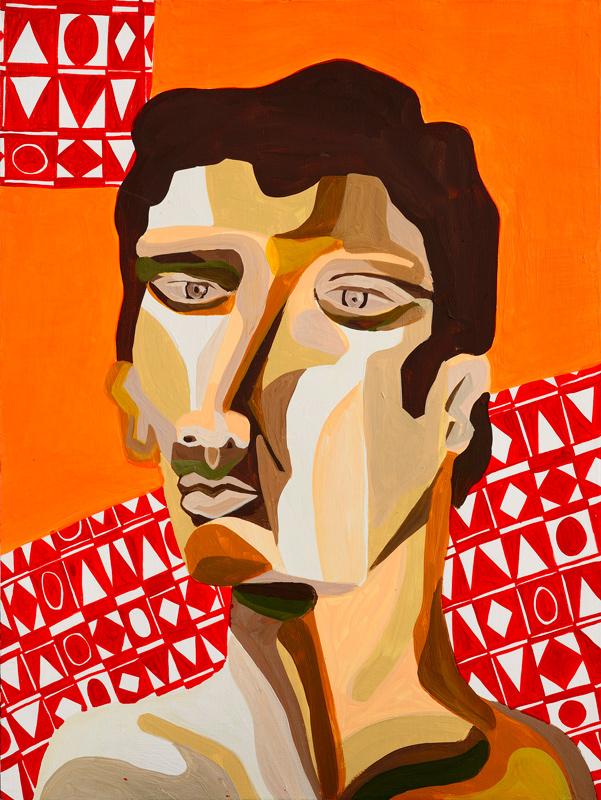 Zio Ziegler, Self Portrait Study, 2014, Mixed Media On Board, Cm 61 X 46