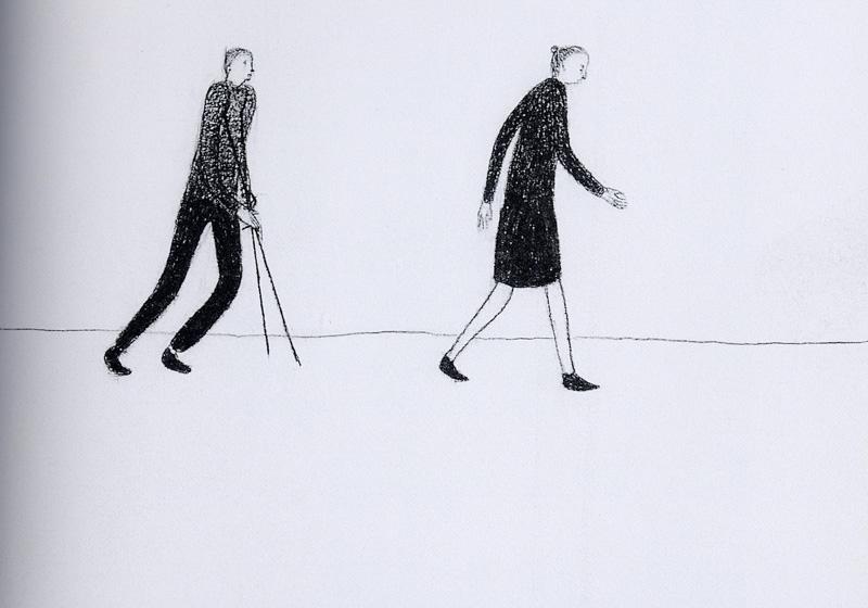 Giuliano Guatta, Passanti, 2002, pencil on paper, 70x100 cm