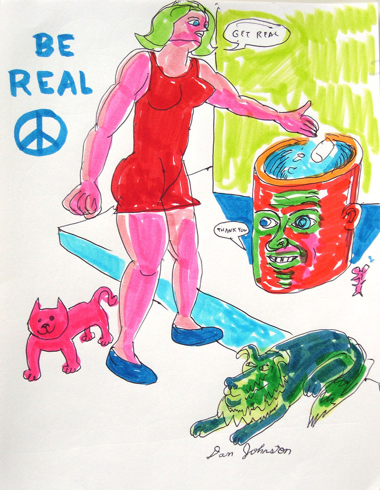 Daniel Johnston, Be Real, 2003, Pens And Markers On Paper, 28x21,5 Cm