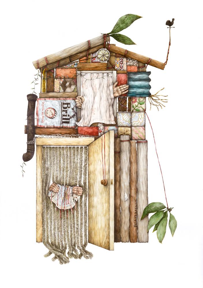 Cristina Pancini, A Casa, 2012, Mixed Media On Paper, 200x150 Cm