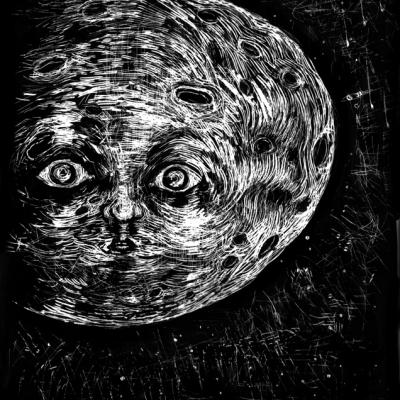 Alla Luna Leopardi, Acrilico Su Acetato, Cm 23.2 X 31.5