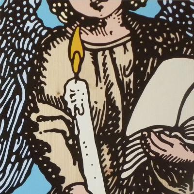 Gabriele Arruzzo, Guardian Angel (with Candle And Die), 2006, Smalto Su Tavola, 40x40 Cm