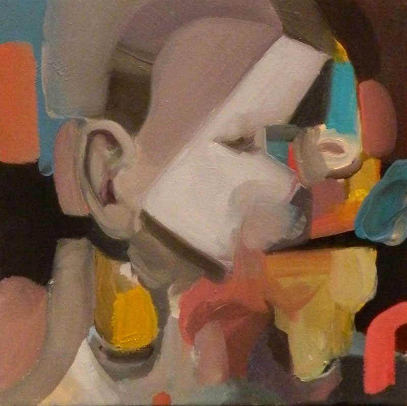 Giuliano Sale, The man that talks, 2015, oil on canvas, 20×20 cm