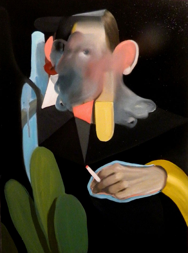 Giuliano Sale, Untitled (with leaves), 2016, oil on canvas, 60×45 cm
