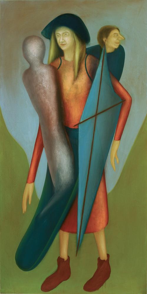 Giuliano Guatta, L'inizio, oil on board, 200x100 cm