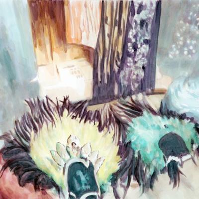 Hauben, 2007 ,(90x120) Aquacrylic Su Tela