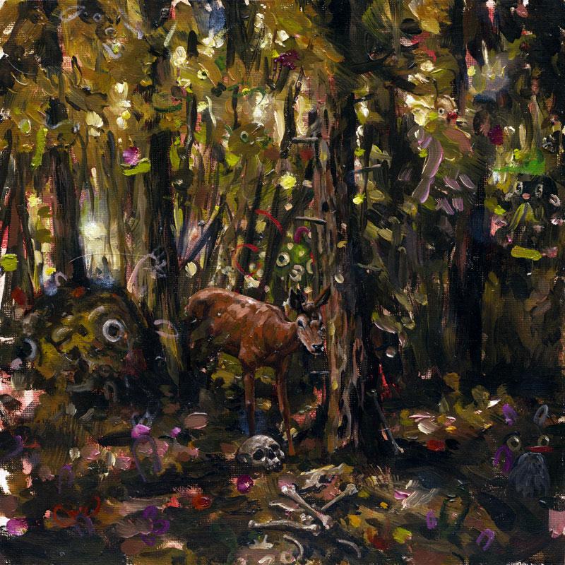 Heiko Müller, Deadwood, 2013, Oil On Board, 30x30 Cm