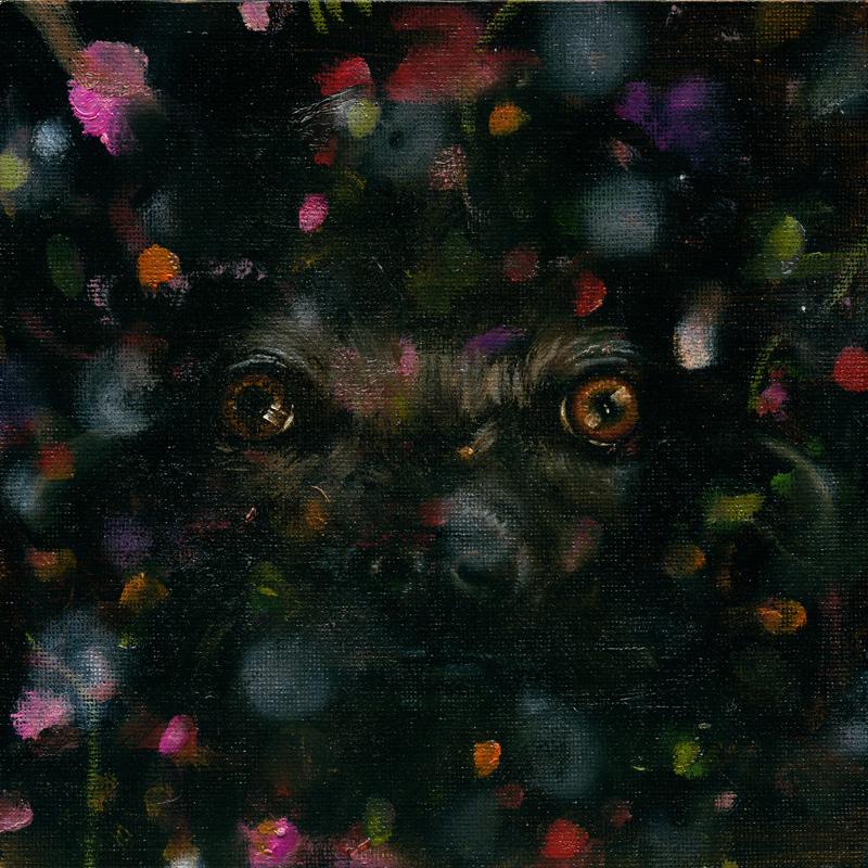 Heiko Müller, The Watcher, 2013, Oil On Board, 20x20 Cm