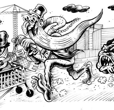Hurricane, SHOPPING, Illustrazioni Per Zero, 2012, Ink On Paper, 15x31 Cm