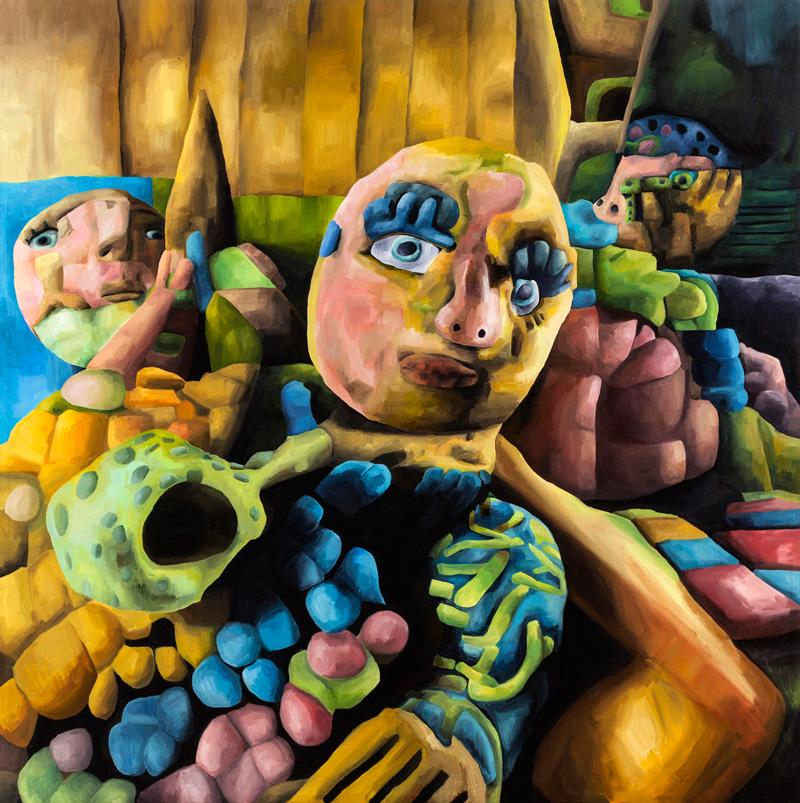 Marta Sesana, Sotto La Luna, 2012, Oil On Linen, 150x150 Cm