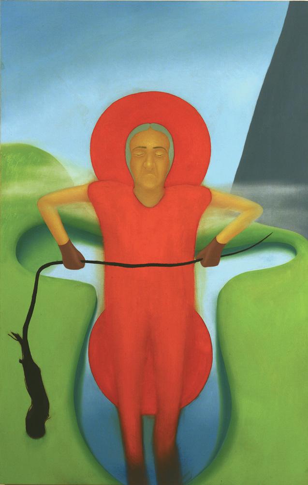 Giuliano Guatta, Parapendio circolare masticato, 2005, oil on board, 140x90 cm
