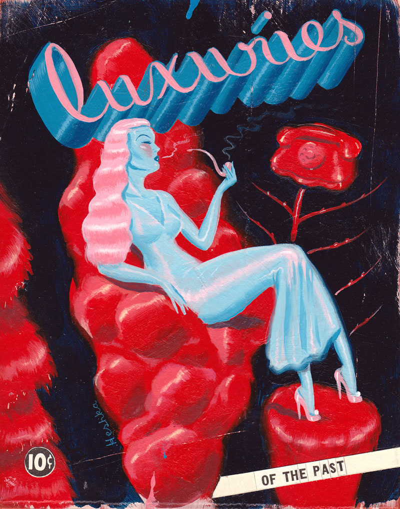 Ryan Heshka, Luxuries of the Past, 2011, acrylic and mixed, 10x13 cm