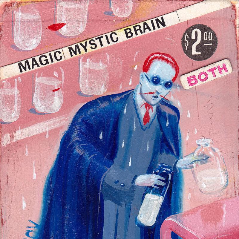 Ryan Heshka, Magic Mystic Brain, 2013, Acrylic And Mixed, 10×6 Cm